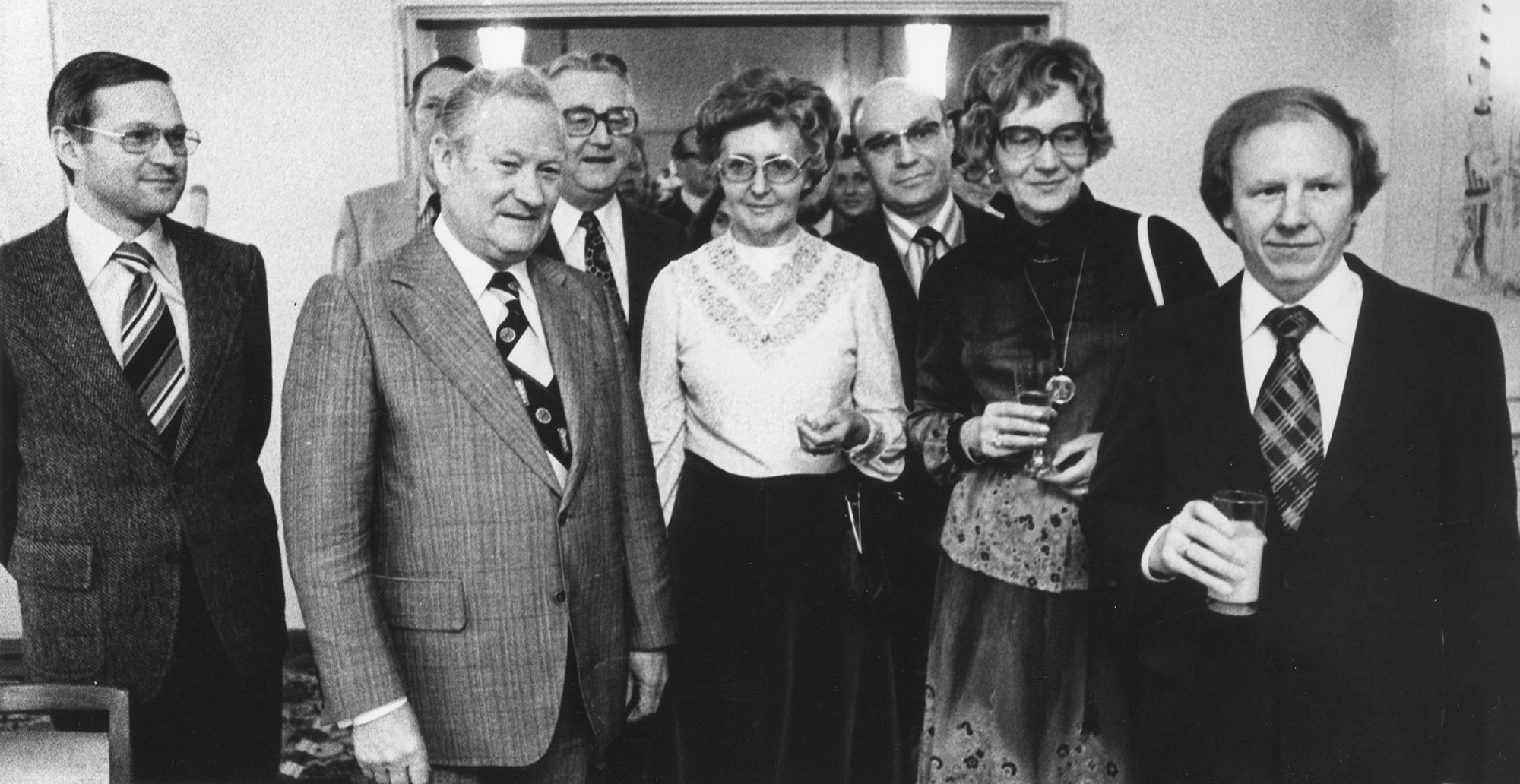 Marianne Englert 1977 in Essen (mit Bogumil OB Katzor Kröll Carlies Rohlmann Gerhard Mantwill)