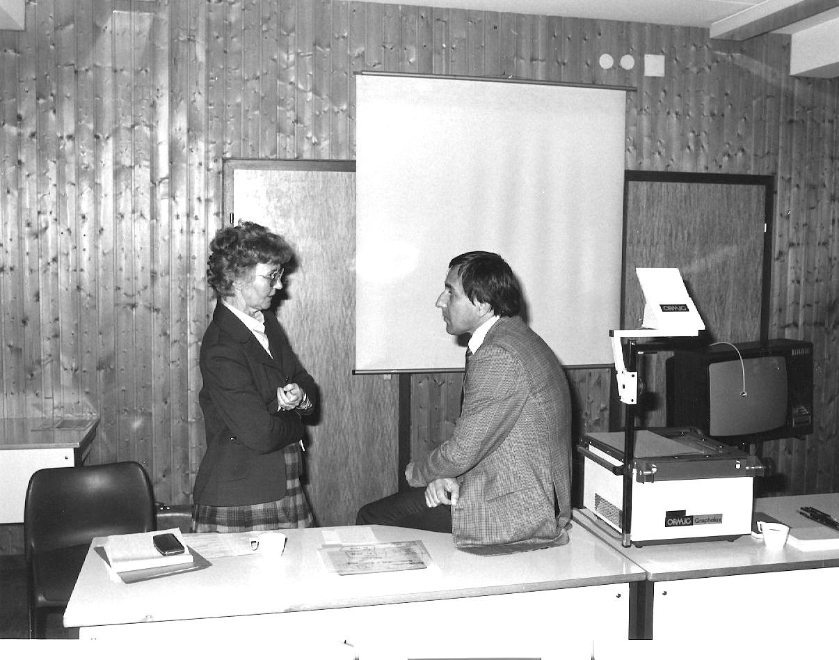 Marianne Englert 1979 im Haus Busch (mit Schmitz-Essser)